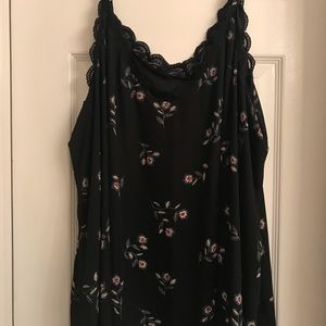 Black with flowers and lace trim Torrid top